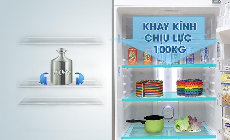 Cùng với đó, khay thủy tinh chịu lực sẽ đảm bảo bạn có thể lưu trữ thực phẩm trên khay mà không sợ làm hỏng khay đựng