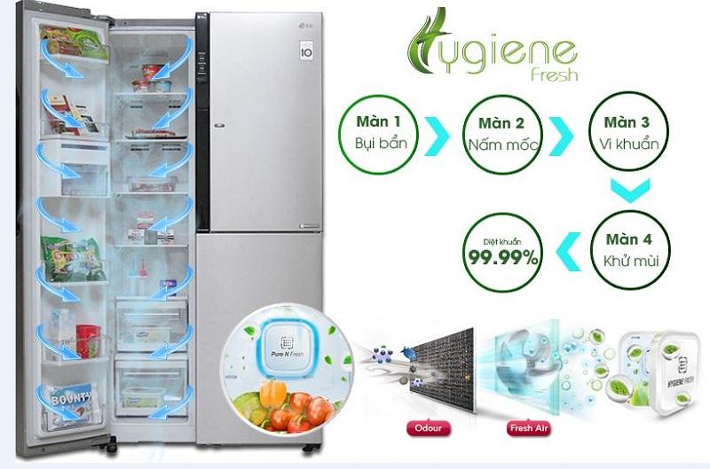 ồng thời, tủ lạnh LG GR-R267JS sẽ còn được khử mùi tốt hơn, đảm bảo cho thức ăn không bị ám mùi