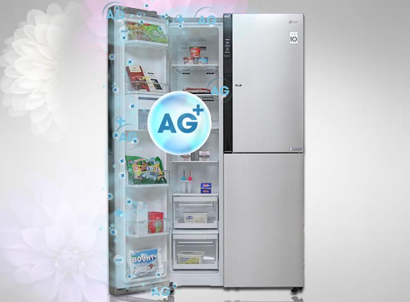 Công nghệ kháng khuẩn BioShield độc quyền của tủ lạnh LG GR-R267JS đảm bảo ngăn chặn sự lây lan vi khuẩn trong các đệm cửa