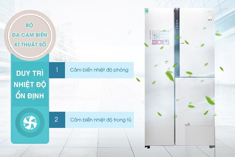 Bộ đa cảm biến kĩ thuật số cảm nhận ngay lập tức nhiệt độ thay đổi từ bên ngoài ảnh hưởng đến tủ lạnh LG GR-R267JS