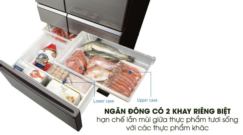 Ngăn đông tích hợp 2 khay chứa - Tủ lạnh Panasonic Inverter 489 lít NR-F510GT-X2