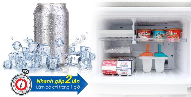 Làm đá nhanh gấp 2 lần so với tủ lạnh thông thường