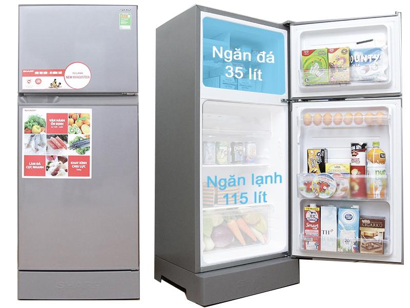 Tủ lạnh Sharp SJ 172E SS có dung tích 165 lít