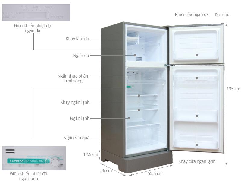 Thông số kỹ thuật Tủ lạnh Sharp 180 lít SJ-191E-SL