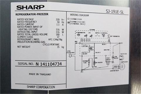 Tủ lạnh Sharp 180 lít SJ-191E-SL