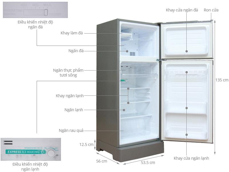 Thông số kỹ thuật Tủ lạnh Sharp 180 lít SJ-192E