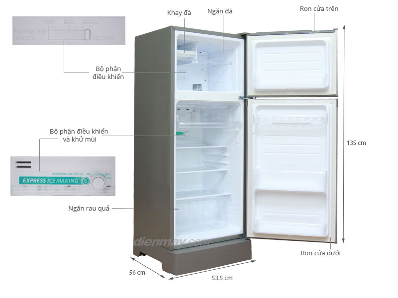 Thông số kỹ thuật Tủ lạnh Sharp SJ-192E 180 lít