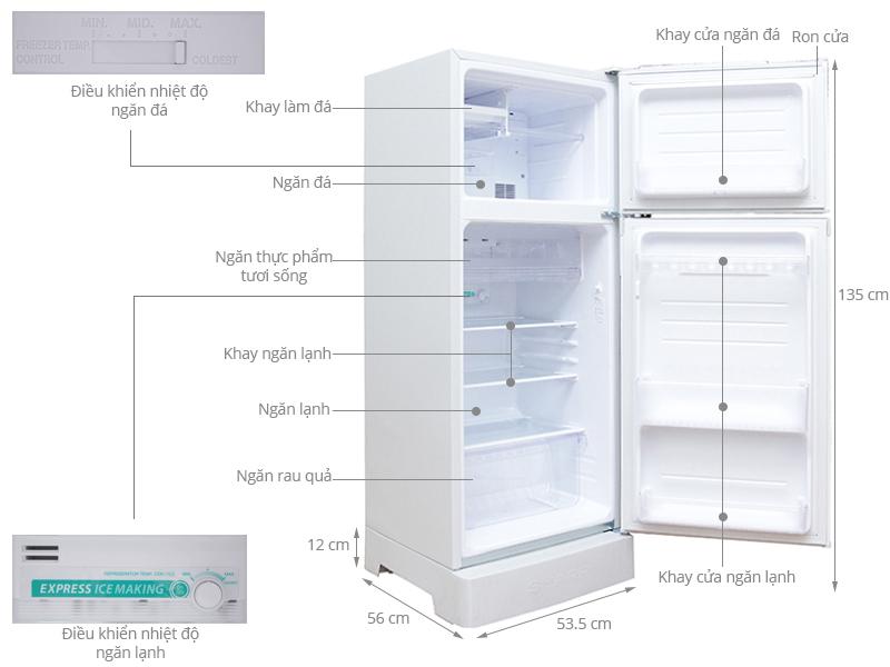 Thông số kỹ thuật Tủ lạnh Sharp 180 lít SJ-193E