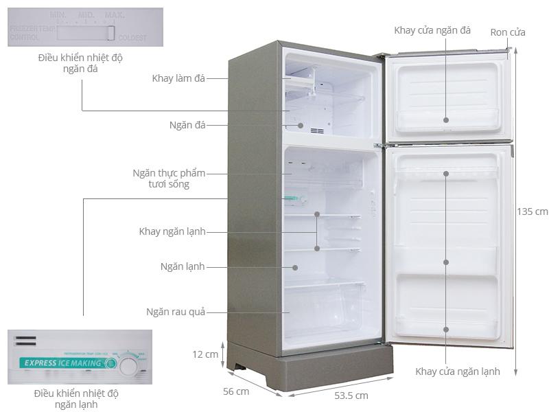 Thông số kỹ thuật Tủ lạnh Sharp 180 lít SJ-197P