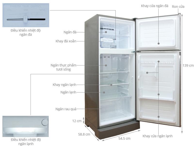 Thông số kỹ thuật Tủ lạnh Sharp 196 lít SJ-212E