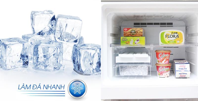 Đồng thời, tủ lạnh Sharp này còn được tích hợp thêm công nghệ làm đá nhanh