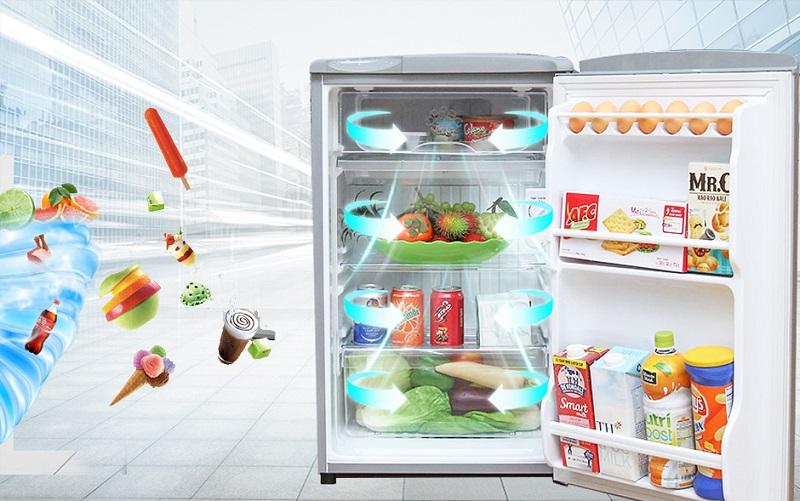 Tủ lạnh Aqua AQR-95AR có khả năng làm lạnh nhanh chóng nhờ công nghệ làm lạnh trực tiếp