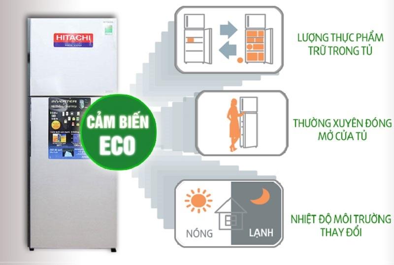 Cảm biến nhiệt Eco nhận biết sự thay đổi nhiệt độ môi trường, tần suất mở cửa tủ cũng như là lượng thực phẩm bên trong tủ lạnh Hitachi R-V440PGV3D