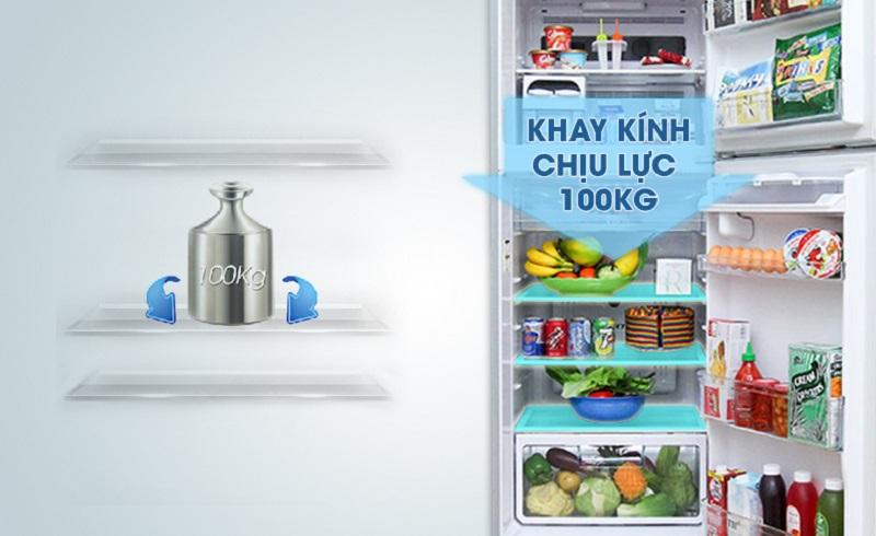 Tủ lạnh Hitachi R-V440PGV3D có khay kính chịu được lực tốt
