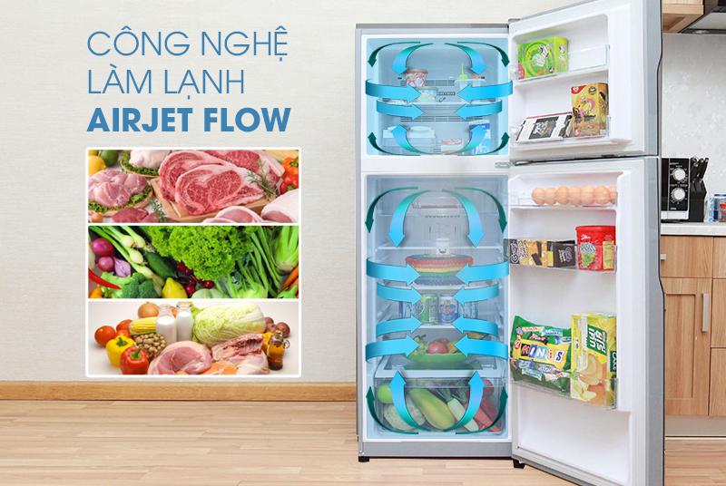 Khả năng làm lạnh AirJetflow giúp đẩy luồng khí mát đi khắp tủ lạnh Hitachi R-H230PGV4