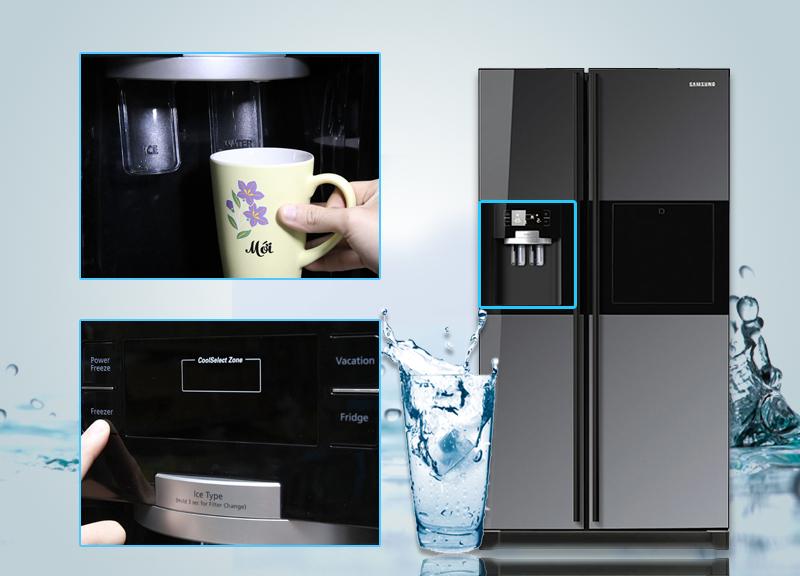 Tủ lạnh Samsung RSH5ZLMR1/XSV có thể lấy đá và nước từ bên ngoài mà không cần mở cửa tủ ra
