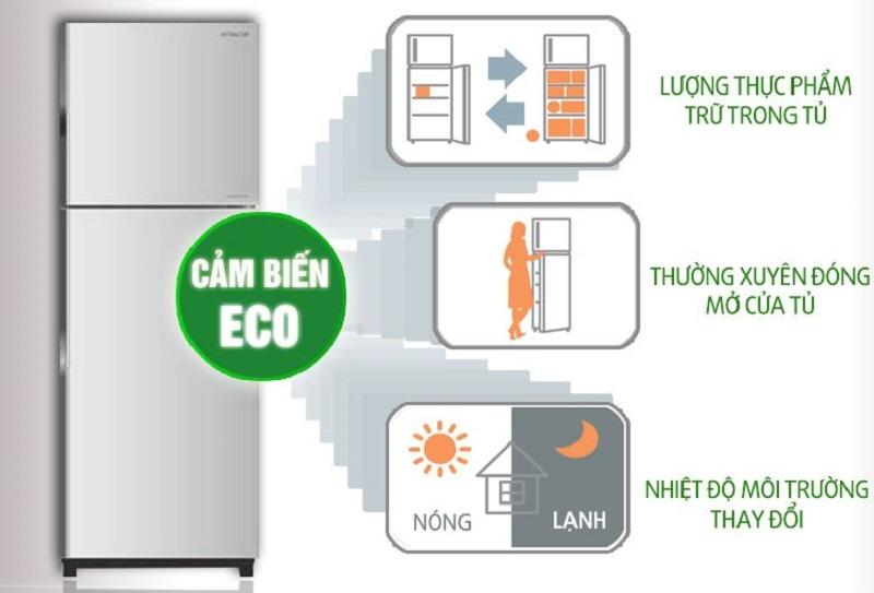 Cảm biến nhiệt Eco giúp cho tủ lạnh Hitachi R-H350PGV4 tùy chọn được chế độ làm việc phù hợp