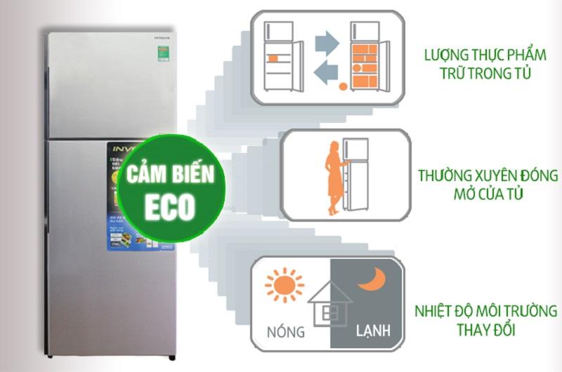 Tủ lạnh Hitachi R-H310PGV4 có cảm ứng nhiệt Eco, nhận biết sự thay đổi nhiệt độ xung quanh, lượng thực phẩm cũng như tần suất mở tủ để tùy chỉnh chế độ làm lạnh phù hợp