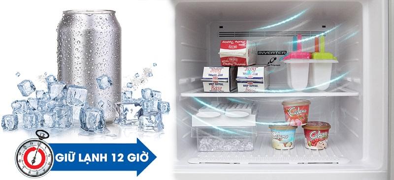 Bên cạnh đó, tủ lạnh Hitachi còn có thể giữ lạnh đến 12 giờ sau khi bị mất điện