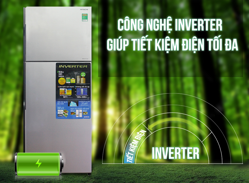 Công nghệ Inverter của tủ lạnh Hitachi R-H310PGV4 tiết kiệm phần lớn điện năng bị hao phí