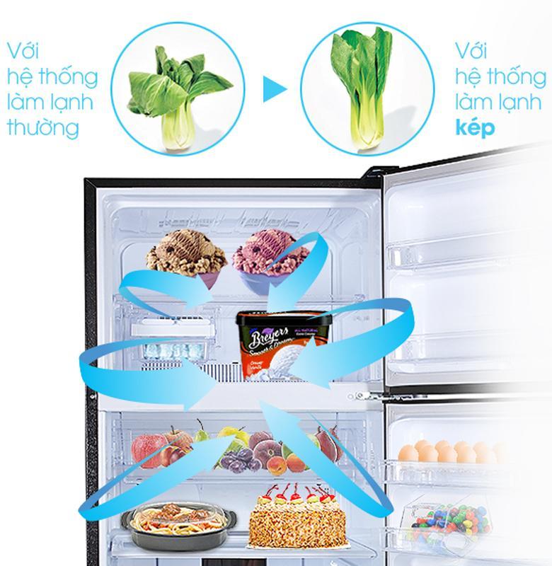 Hệ thống làm lạnh kép làm lạnh đều giữ thực phẩm tươi ngon