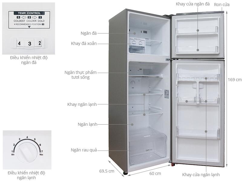 Thông số kỹ thuật Tủ lạnh LG Inverter 315 lít GR-L333BS