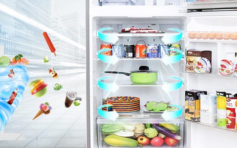 Công nghệ luồng khí lạnh đa chiều mang đến cho tủ lạnh LG GR-L333PS khả năng đưa làn gió đến tận cùng góc tủ