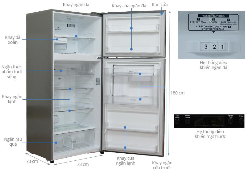 Thông số kỹ thuật Tủ lạnh LG 507 lít GR-L702SD