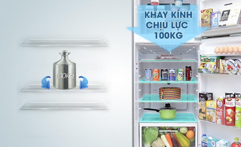 Với khay kính có khả năng chịu lực tốt, tủ lạnh Hitachi R-V440PGV3-INX sẽ giúp bạn dễ dàng sắp xếp thực phẩm