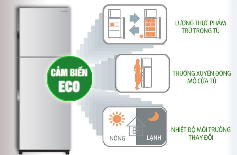 Tủ lạnh Hitachi R-V440PGV3-INX có cảm biến nhiệt Eco