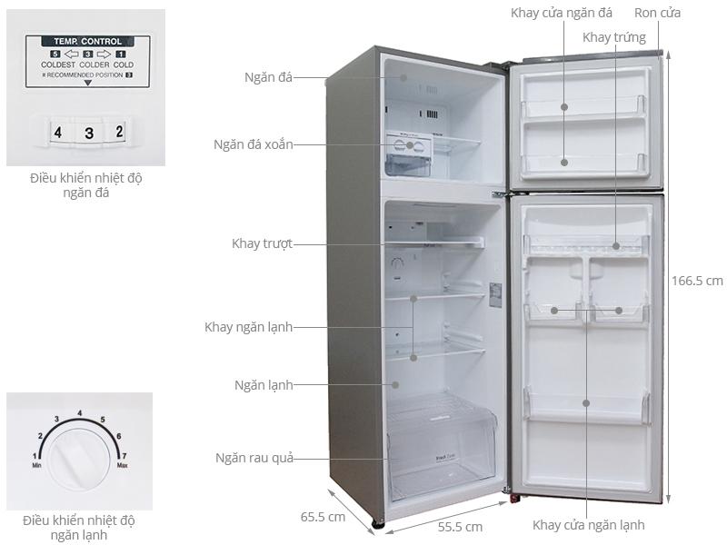Thông số kỹ thuật Tủ lạnh LG Inverter 255 lít GN-L275BS