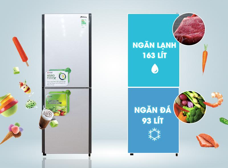 Tủ lạnh Mitsubishi Electric MR-HD32G-SL có thiết kế ngăn lạnh nằm ở trên