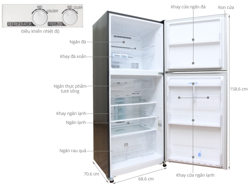 Thông số kỹ thuật Tủ lạnh Mitsubishi Electric 346 lít MR-F42EH-SLW