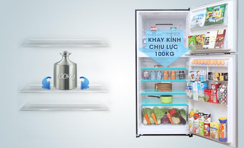Khay kính của tủ lạnh Mitsubishi Electric MR-F42EH-SLW có thể chịu lực tốt