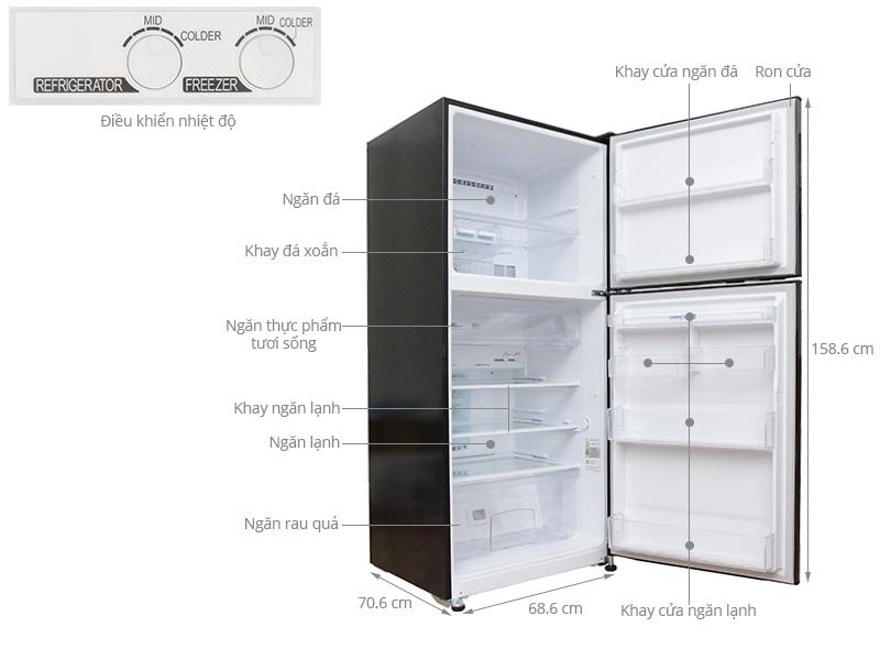 Thông số kỹ thuật Tủ lạnh Mitsubishi Electric 346 lít MR-F42EH-BRW