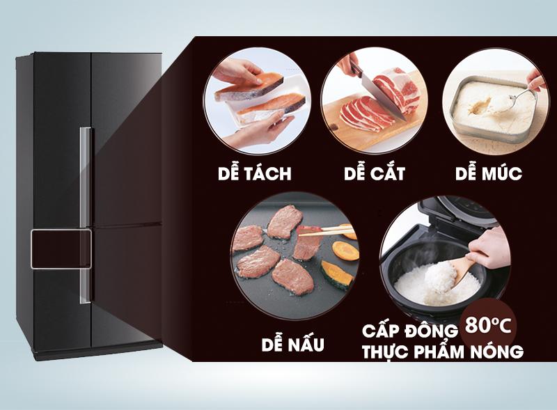 """Công nghệ """"cấp đông mềm"""" trong tủ lạnh Mitsubishi Electric MR-Z65W-DB-V không chỉ giúp nó có thể bảo quản thịt, cá, tôm một cách tốt hơn"""