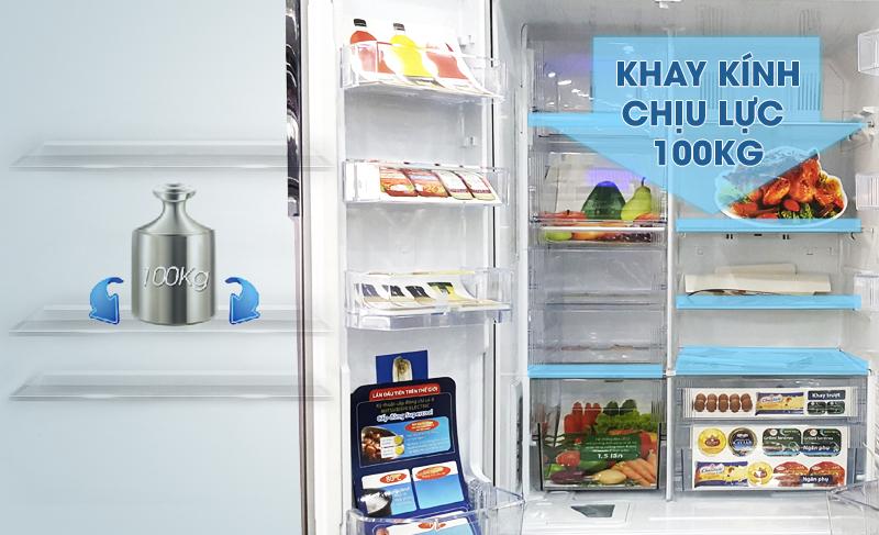 Khay kính chịu lực sẽ để bạn sắp xếp thực phẩm vào bên trong tủ lạnh nhanh hơn rất nhiều
