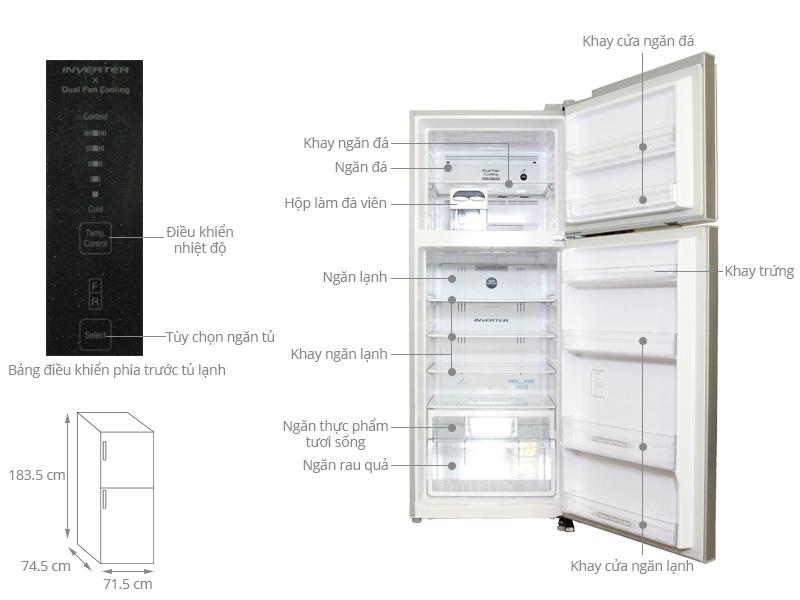 Thông số kỹ thuật Tủ lạnh Hitachi 450 lít R-V540PGV3