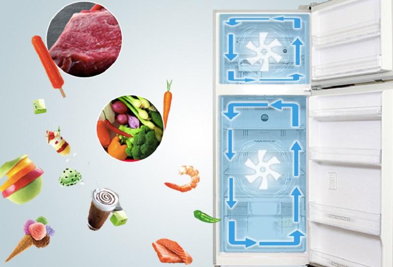 Hệ thống quạt kép của tủ lạnh Hitachi R-V540PGV3 sử dụng hai quạt khác nhau