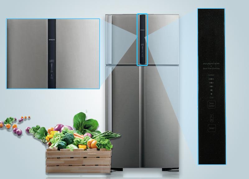 Tủ lạnh Hitachi R-V540PGV3 có bảng điều khiển cảm ứng ở bên ngoài