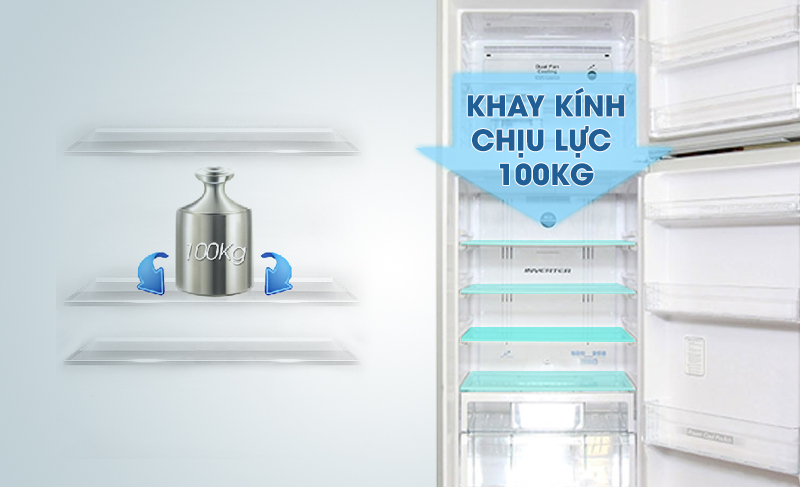 Cùng với nó là khay kính chịu lực tốt, đem đến sự sắp xếp thực phẩm hiệu quả vào tủ lạnh mà không sợ thực phẩm nặng sẽ làm chúng hỏng