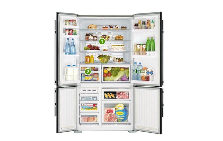 Khay chứa bằng thủy tinh chịu lực (1) và ngăn ướp lạnh tiện lợi (2)