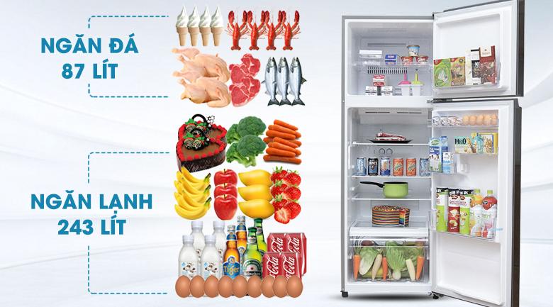Tủ lạnh Toshiba Inverter 330 lít GR-T39VUBZ(DS) - Dung tích