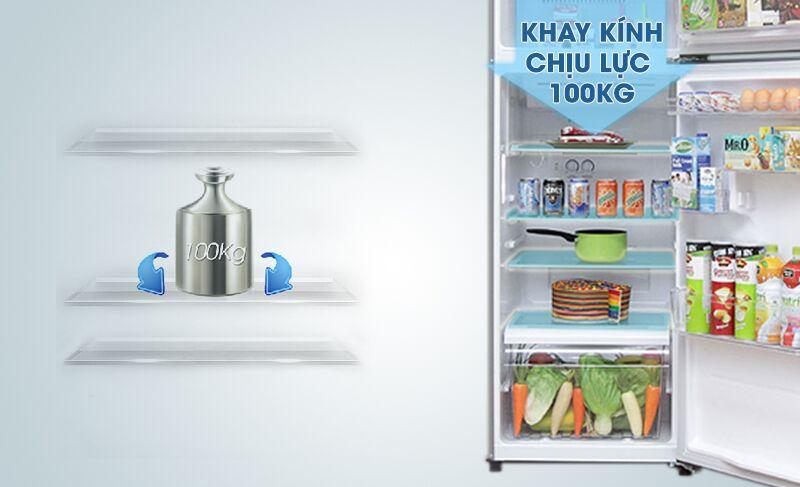 Với khay kính chịu được lực tốt, tủ lạnh Toshiba GR-T39VUBZ(FS) có thể giúp cho người dùng dễ dàng hơn trong việc sắp xếp thực phẩm