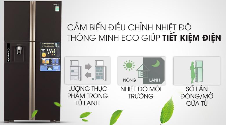 Cảm biến thông minh Eco tiết kiệm điện - Tủ lạnh Hitachi Inverter 540 lít R-W660FPGV3X GBW