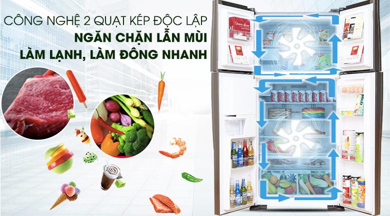 Hệ thống làm lạnh độc lập chống lẫn mùi thực phẩm - Tủ lạnh Hitachi Inverter 540 lít R-W660FPGV3X GBW