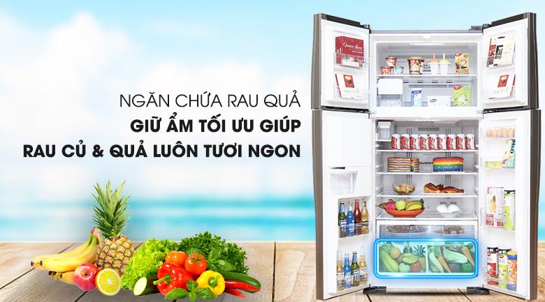 Ngăn rau củ quả hiện đại - Tủ lạnh Hitachi Inverter 540 lít R-W660FPGV3X GBW