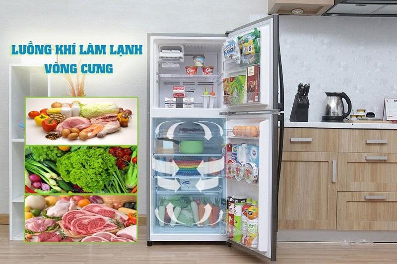 Công nghệ luồng khí lạnh vòng cung đặc biệt của tủ lạnh Toshiba GR- S21VPB (DS) sẽ giúp lan tỏa luồng khí
