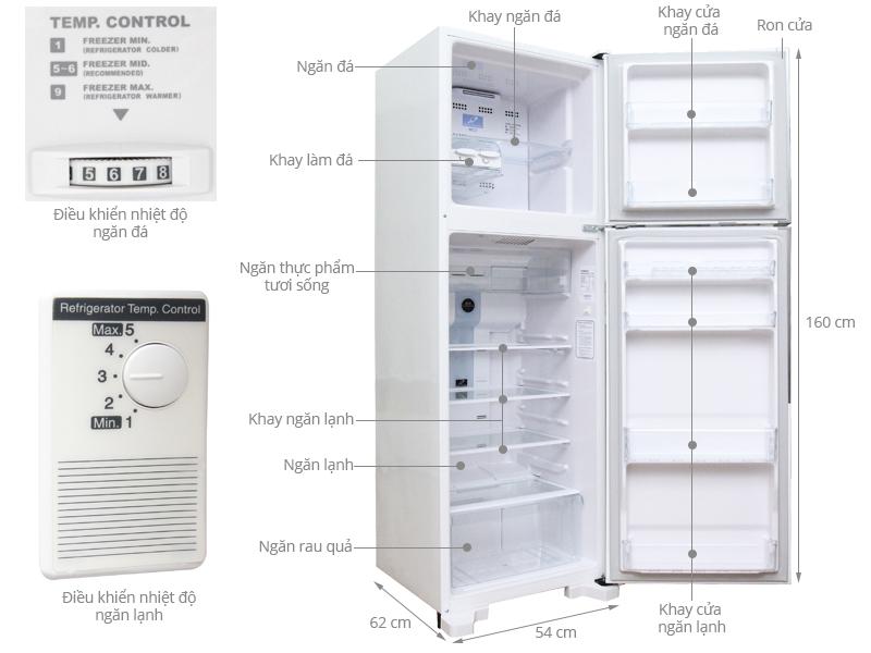 Thông số kỹ thuật Tủ lạnh Hitach 225 lít R-T230EG1 MWH