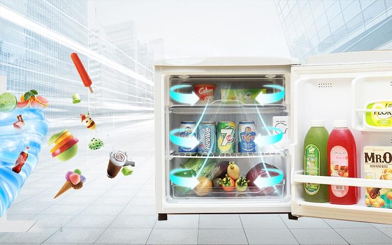 Với công nghệ làm lạnh trực tiếp, tủ lạnh Aqua AQR-55AR sẽ làm lạnh nhanh chóng, giúp thực phẩm tươi ngon và giữ được nguyên vị